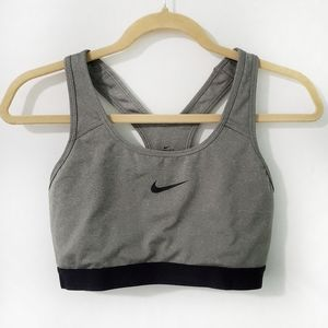Nike Dri-Fit Gray Logo Compression Sports Bra L